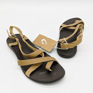 OluKai Women's Upena Leather Sling Back Sandals